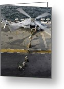 Humanitarian Aid Greeting Cards - Marines Prepare To Board An Mh-60s Sea Greeting Card by Stocktrek Images