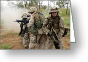 Battleground Greeting Cards - Marines Prepare To Rush In To Clear Greeting Card by Stocktrek Images