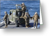 Military Vehicle Greeting Cards - Marines Provide Security Aboard Greeting Card by Stocktrek Images