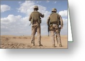 Military Police Greeting Cards - Marines Scan The Horizon For Insurgent Greeting Card by Stocktrek Images