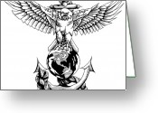 Freedom Fighter Brand Greeting Cards - Marines Greeting Card by Scarlett Royal
