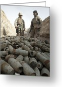 Unused Greeting Cards - Marines Stand Over A Pile Of Unused Greeting Card by Stocktrek Images