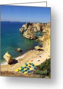 Fun Greeting Cards - Marinha Beach Greeting Card by Carlos Caetano