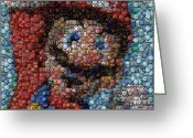 Super Mario Greeting Cards - Mario Bottle Cap Mosaic Greeting Card by Paul Van Scott