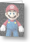 Super Mario Greeting Cards - Mario Mosaic Greeting Card by Paul Van Scott
