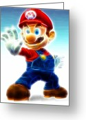 Nes Greeting Cards - Mario Greeting Card by Paul Van Scott