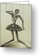 White Dress Drawings Greeting Cards - Marionette Greeting Card by Hannah Dise