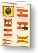 National Drawings Greeting Cards - Maritime Flags of Austria circa 1876 Greeting Card by Steven Wynn