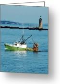 New England Lighthouse Greeting Cards - Maritime Greeting Card by Greg Fortier