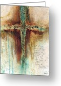 Crucifix Art Greeting Cards - Mark 1027 Greeting Card by Michel  Keck