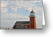 Lighthouse Tower Greeting Cards - Mark Abbott Memorial Lighthouse  - Home of the Santa Cruz Surfing Museum CA USA Greeting Card by Christine Till