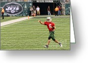 Ny Jets Greeting Cards - Mark Sanchez NY Jets Quarterback Greeting Card by Paul Ward