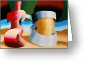 Pitcher Greeting Cards - Mark Webster - Abstract Futurist Beer Mug and Bottle Greeting Card by Mark Webster