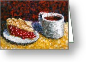 Pointillist Painting Greeting Cards - Mark Webster - Impressionist Cherry Pie with Coffee Acrylic Still Life Painting Greeting Card by Mark Webster