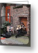 Dark Grey Greeting Cards - Market Busker 4 Greeting Card by Tim Allen
