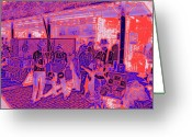 Street Musicians Greeting Cards - Market Interlude Blues Greeting Card by Tim Allen