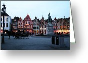 Medieval Architecture Greeting Cards - Market Square at Night Greeting Card by John Rizzuto