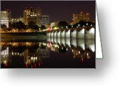 Harrisburg Greeting Cards - Market Street Bridge Reflections Greeting Card by Shelley Neff