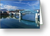 Riverwalk Greeting Cards - Market Street Bridge  Greeting Card by Tom and Pat Cory