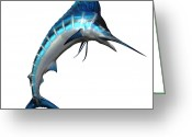 Sea Life Digital Art Greeting Cards - Marlin 02 Greeting Card by Corey Ford