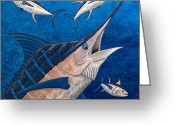 Sea Life Art Greeting Cards - Marlin and Ahi Greeting Card by Carol Lynne