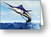 Animal Sport Greeting Cards - Marlin Jump Greeting Card by Corey Ford