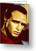 Marlon Brando Greeting Cards - Marlon Brando  2 Greeting Card by John Keaton