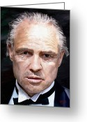 Portraits Greeting Cards - Marlon Brando Greeting Card by James Shepherd