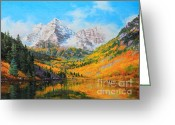 National Painting Greeting Cards - Maroon Bells Greeting Card by Gary Kim
