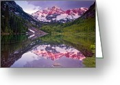 Most Photographed Photo Greeting Cards - Maroon Bells Morning Magenta Greeting Card by Paul Gana