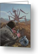 M P Davey Digital Art Greeting Cards - Marooned Astronaut Confronting Monster Greeting Card by Martin Davey