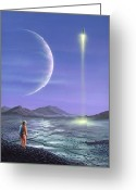 Science Fiction Drawings Greeting Cards - Marooned Astronaut Greeting Card by Richard Bizley and Photo Researchers