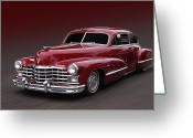 1947 Cadillac Greeting Cards - Maroonglow Greeting Card by Bill Dutting