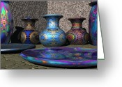 Jugs Greeting Cards - Marrakesh Open Air Market Greeting Card by Lyle Hatch