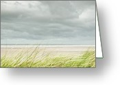 Storm Cloud Greeting Cards - Marram Grass On Beach By Sea Greeting Card by Dune Prints by Peter Holloway