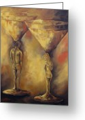 Husband And Wife Greeting Cards - Marriage of the Martinis  Greeting Card by Torrie Smiley