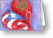 Puerto Rico Drawings Greeting Cards - Marruecos Y Puerto Rico Greeting Card by Judith Correa