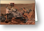 Laser Beam Greeting Cards - Mars Rover Firing Laser Greeting Card by NASA/Science Source