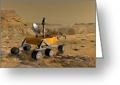Gully Greeting Cards - Mars Science Laboratory Travels Greeting Card by Stocktrek Images