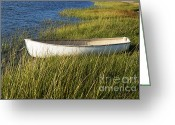 Row Boat Greeting Cards - Marsh Grass Rowboat Greeting Card by John Greim
