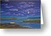 Tidal River Greeting Cards - Marsh Moon Greeting Card by Stanton Allaben