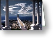 Lighthouse Artwork Greeting Cards - Marshall Point Lighthouse Maine Greeting Card by Skip Willits