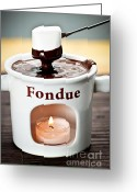Rich Photo Greeting Cards - Marshmallow dipped in chocolate fondue Greeting Card by Elena Elisseeva