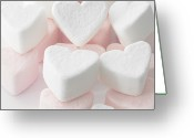 Heart-shape Greeting Cards - Marshmallow Love Hearts Greeting Card by Kim Haddon Photography