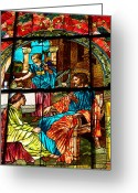 Glass Drawings Greeting Cards - Martha and Mary Greeting Card by Diane E Berry