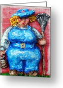 Overalls Greeting Cards - Martha in the Garden Greeting Card by Alison  Galvan