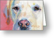 Yellow Labrador Retriever Greeting Cards - Marthas Pink Nose Greeting Card by Kimberly Santini