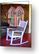 Wicker Chair Greeting Cards - Marthas Rocking Chair Greeting Card by Tammy Wetzel