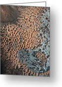 Pitted Greeting Cards - Martian Central-peak Crater Floor Greeting Card by Nasajpluniversity Of Arizona