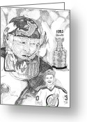 Autographed Art Greeting Cards - Martin Brodeur Sports Portrait Greeting Card by Marty Rice